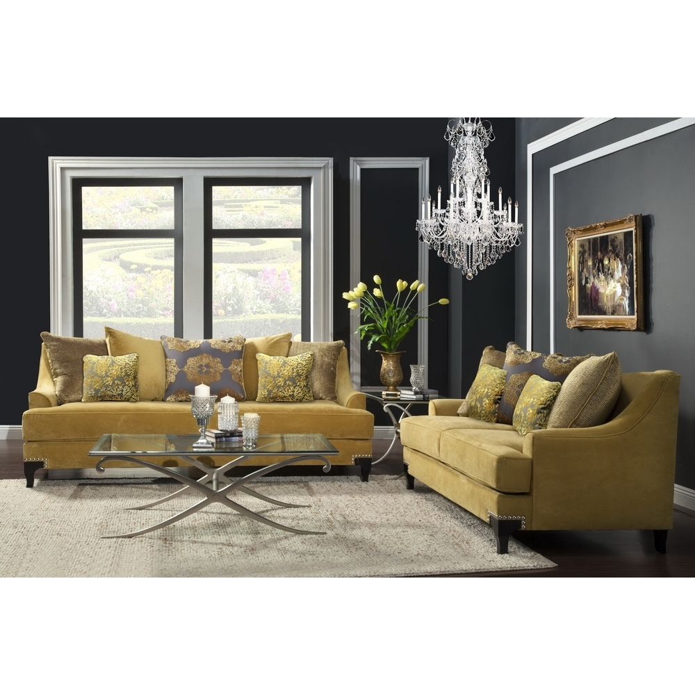 Well Liked Yellow Sofa Chairs With Furniture Of America Visconti 2 Piece Premium Fabric Sofa And (View 17 of 20)