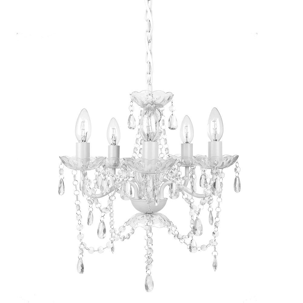 White And Crystal Chandeliers Within Preferred Tadpoles 5 Light White Diamond Chandelier Cch5pl010 – The Home Depot (View 17 of 20)