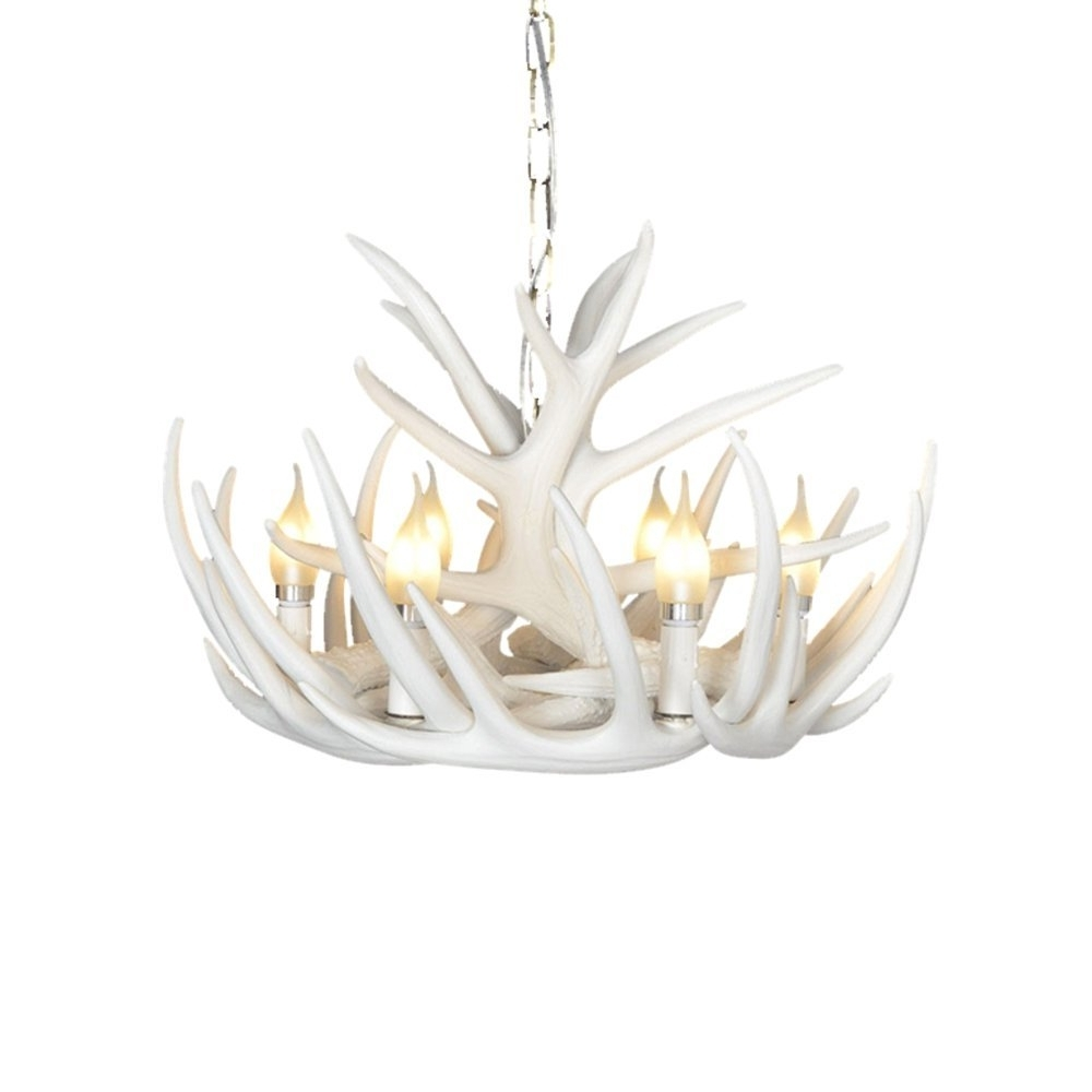 White Antler Chandelier Throughout Fashionable Chicstyleme Rustic Cascade Antler Chandelier – Antler Chandeliers (View 20 of 20)