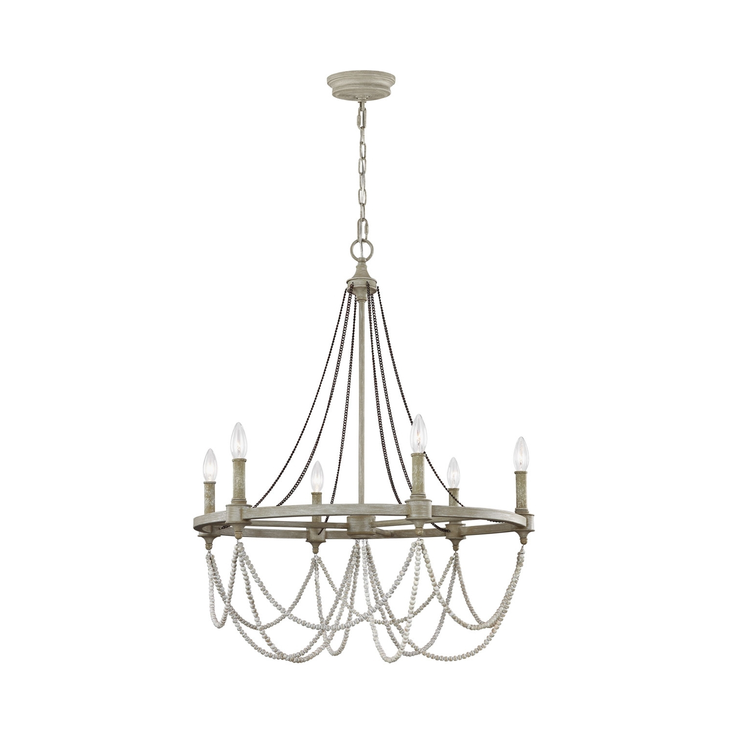 White Chandelier Pertaining To Latest Feiss Beverly French Washed Oak And Distressed White Wood Six Light (View 5 of 20)