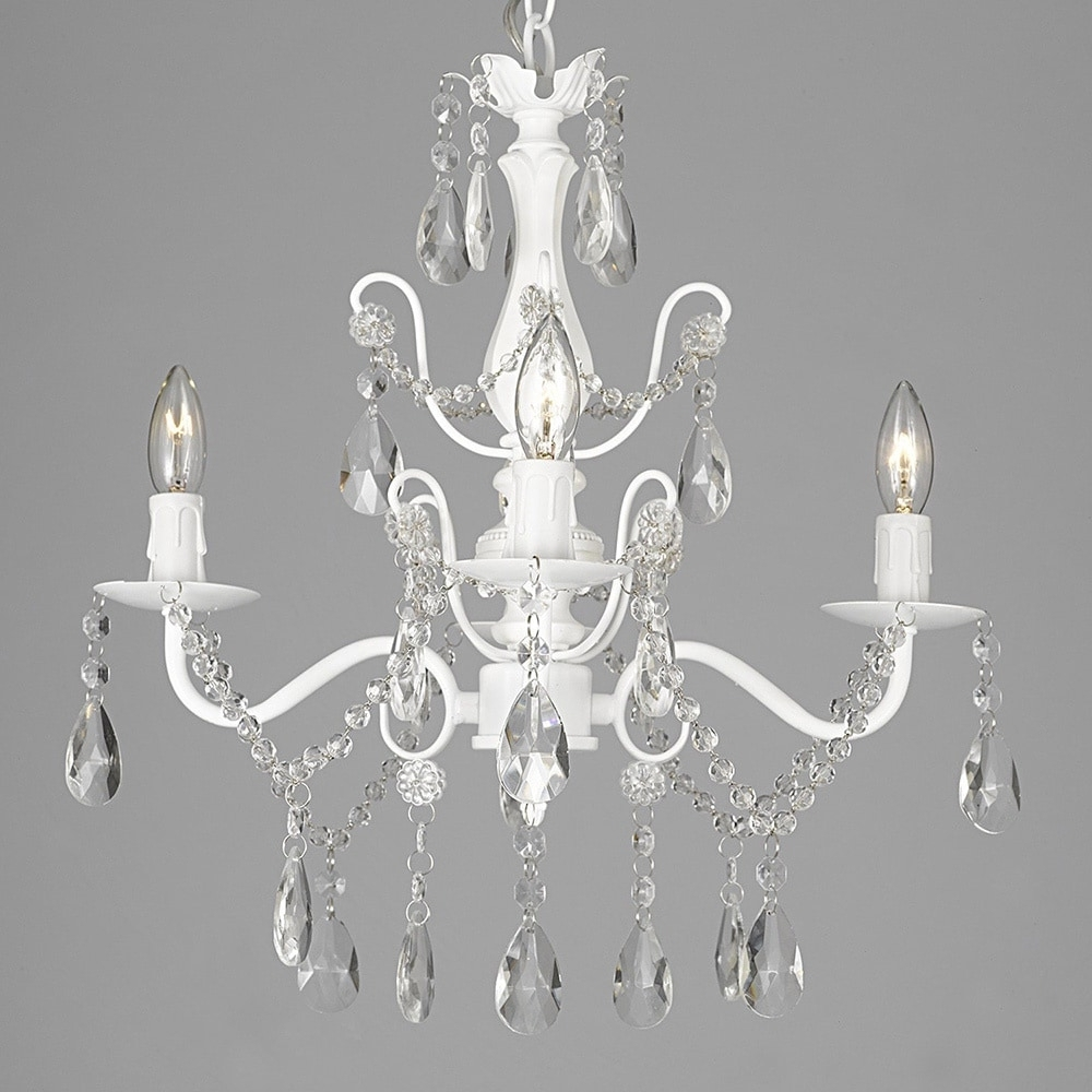 White Chandelier Throughout Well Known Silver Orchid Keaton Wrought Iron And Crystal White 4 Light (Gallery 10 of 20)