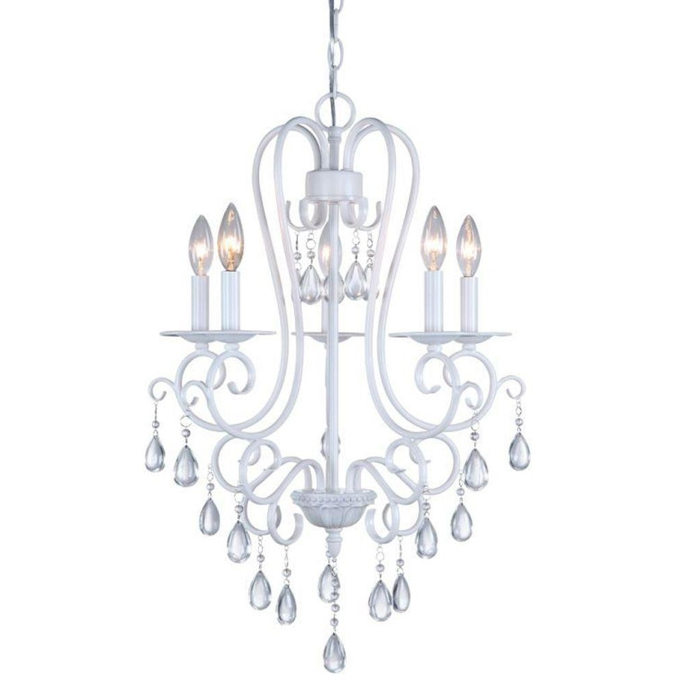 White Chandeliers Inside Most Current Dsi 5 Light White Mini Chandelier With Crystal Accents 16196 – The (View 12 of 20)