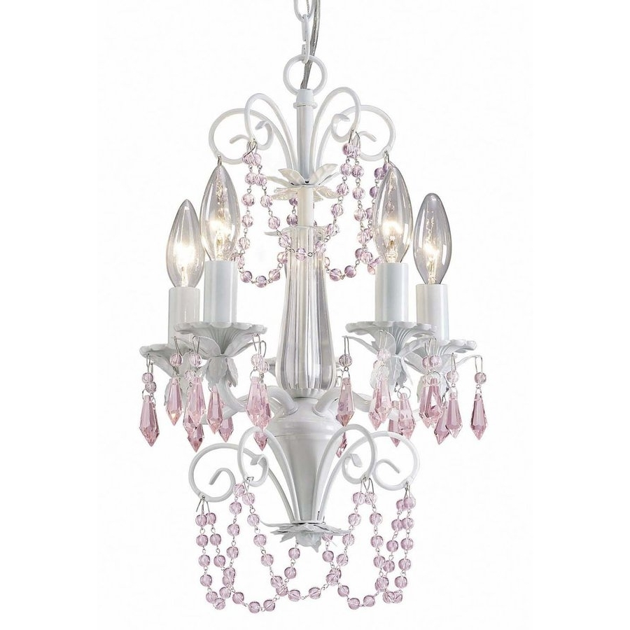 White Chandeliers Intended For Fashionable Shop Canarm Danica 12 In 5 Light White Crystal Candle Chandelier At (View 20 of 20)