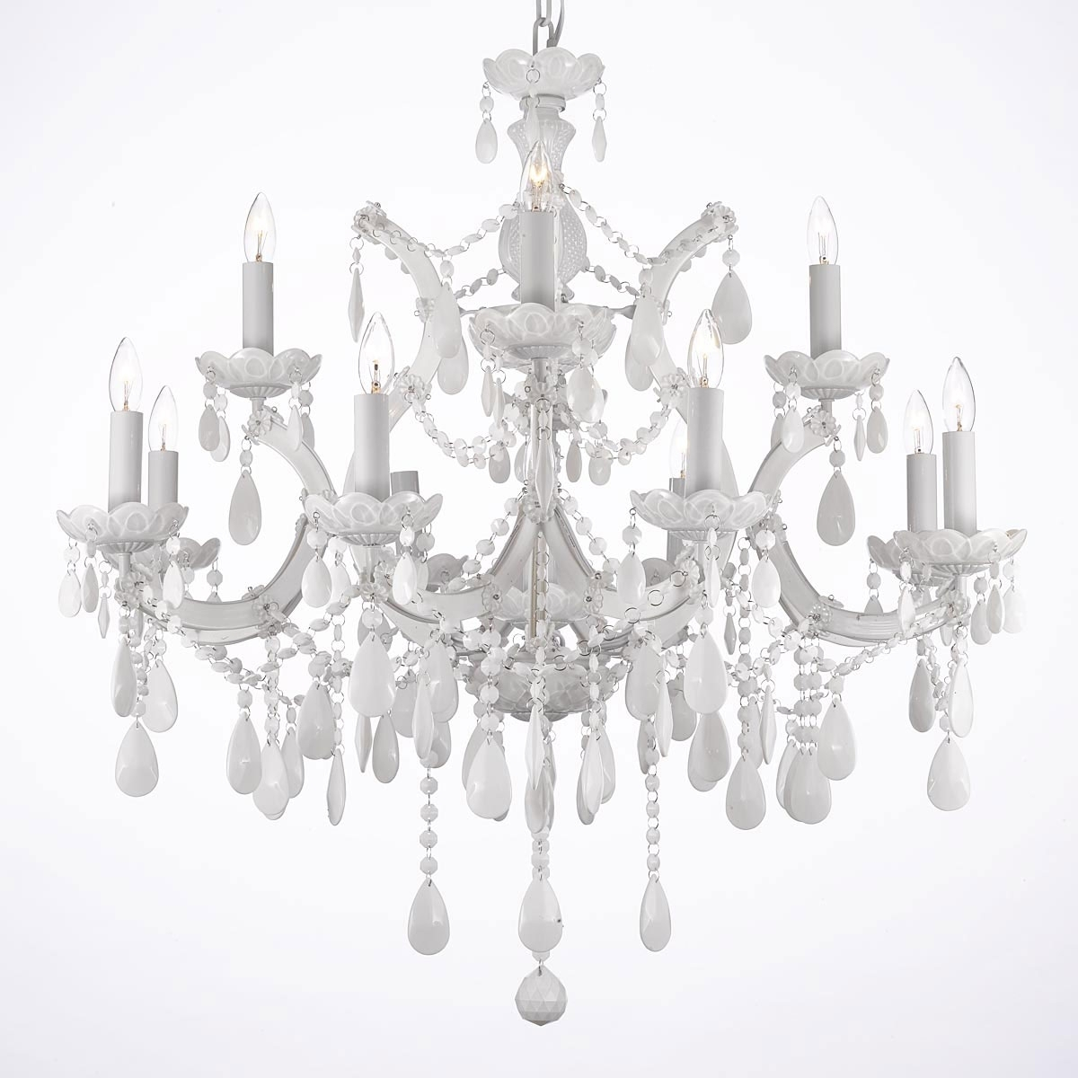 White Chandeliers – Thejots Inside Preferred White And Crystal Chandeliers (View 8 of 20)