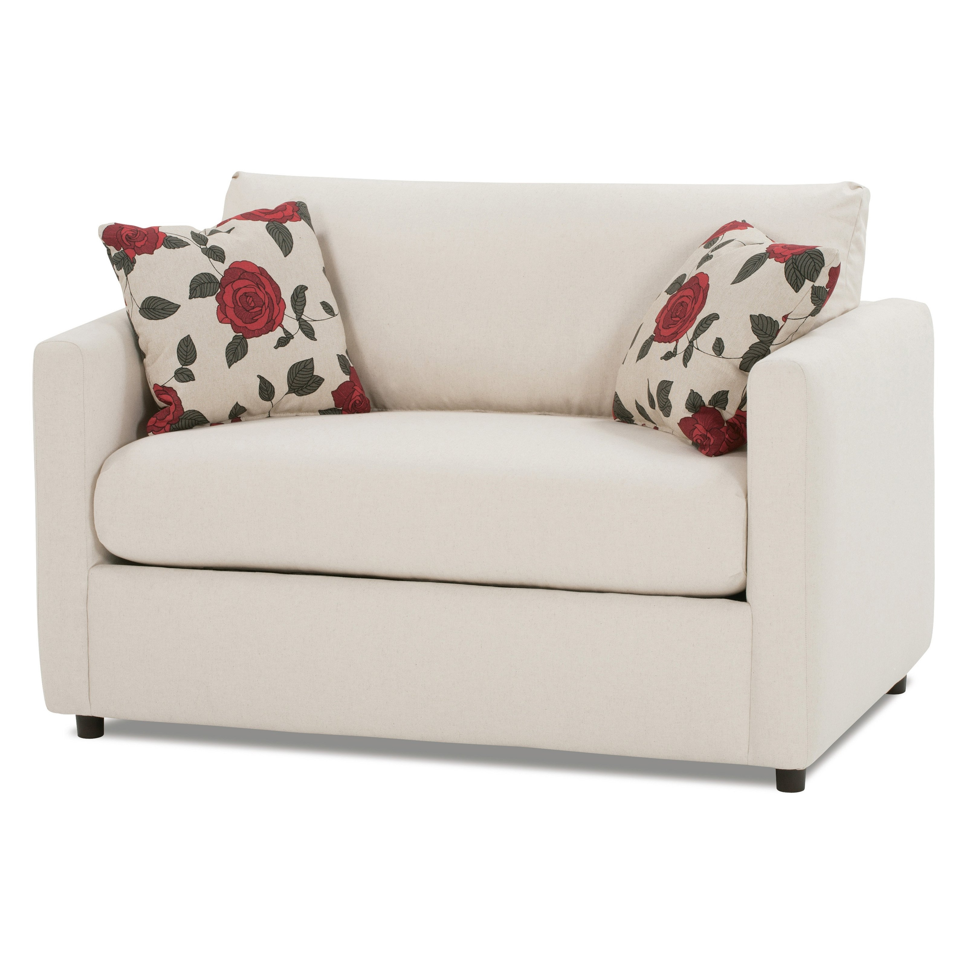 White Color Leather Twin Size Sleeper Sofa With Storage And Pillow Regarding Widely Used Twin Sofa Chairs (View 3 of 20)