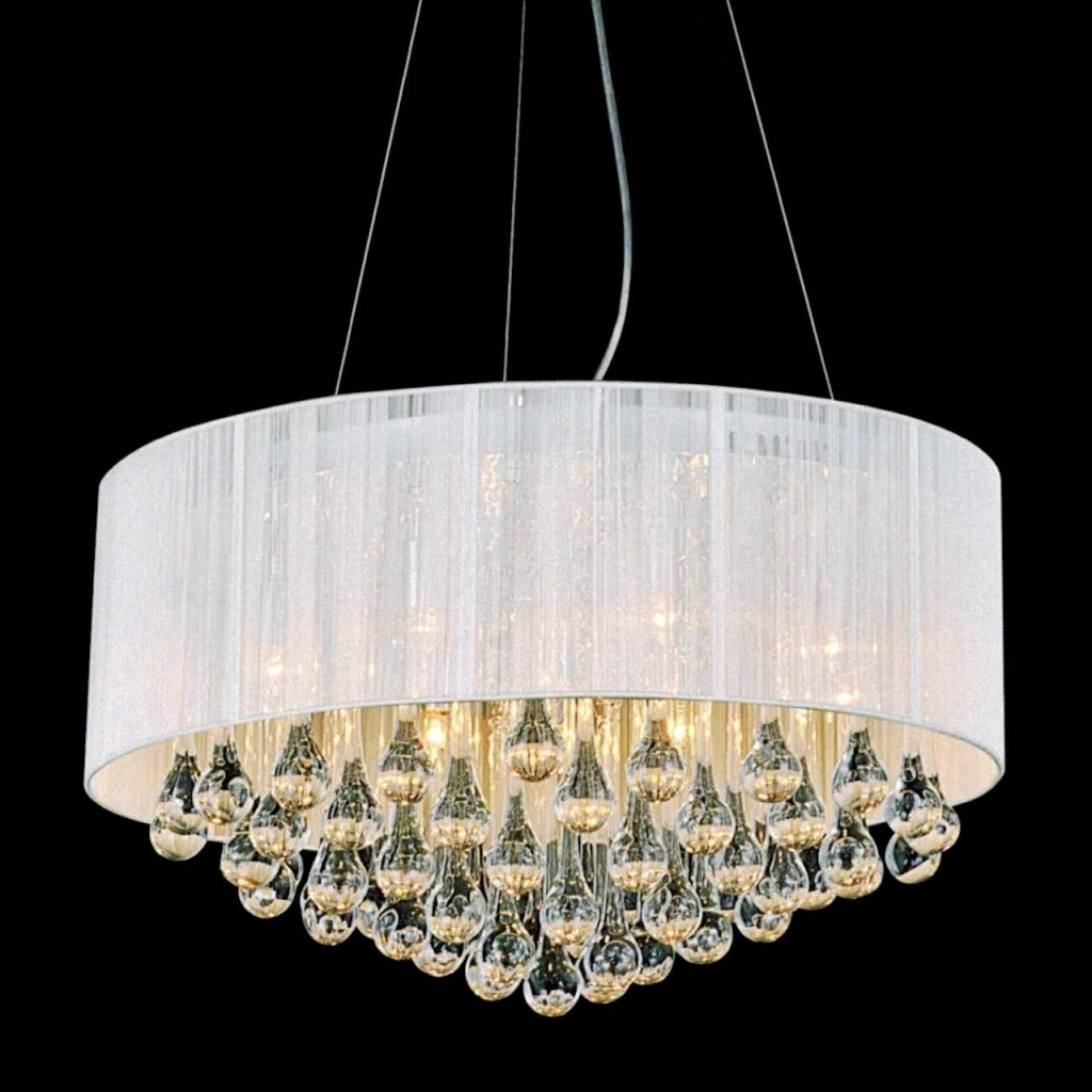 White Contemporary Chandelier In Famous Beautiful White Chandelier With Shades Furniture Round Modern (View 17 of 20)