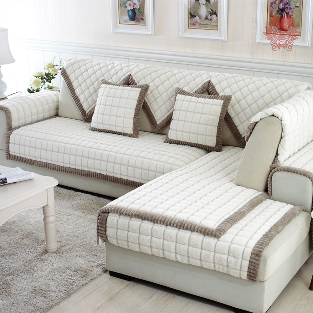White Grey Plaid Plush Long Fur Sofa Cover Slipcovers Fundas De Regarding Fashionable Sectional Sofas With Covers (View 20 of 20)