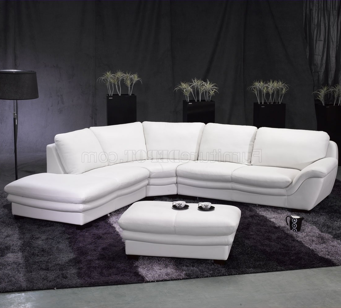 White Leather Contemporary Sectional Sofa W/ottoman Regarding Trendy Contemporary Sectional Sofas (View 19 of 20)