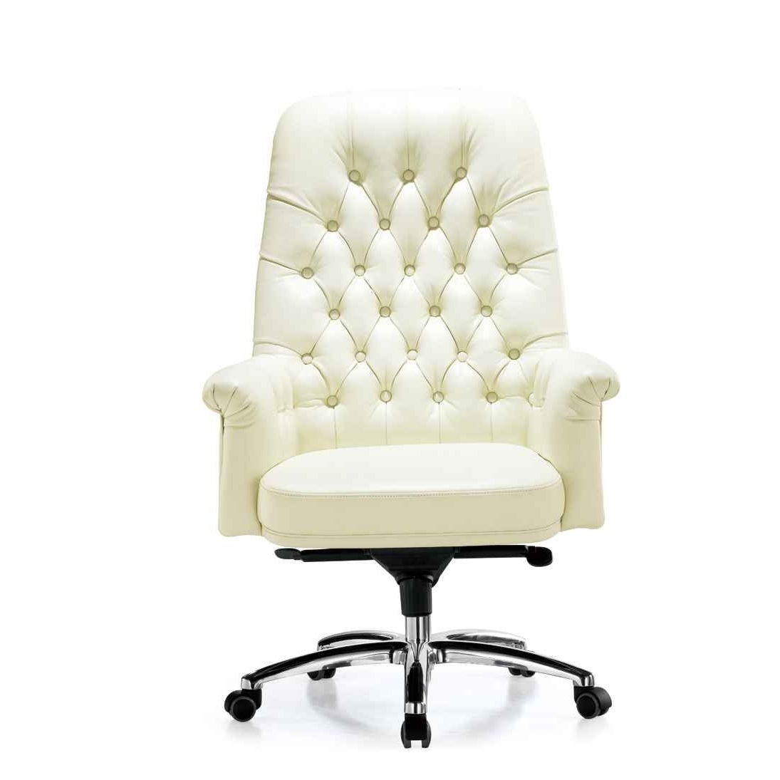 White Leather For Upholstered Executive Office Chairs (View 9 of 20)