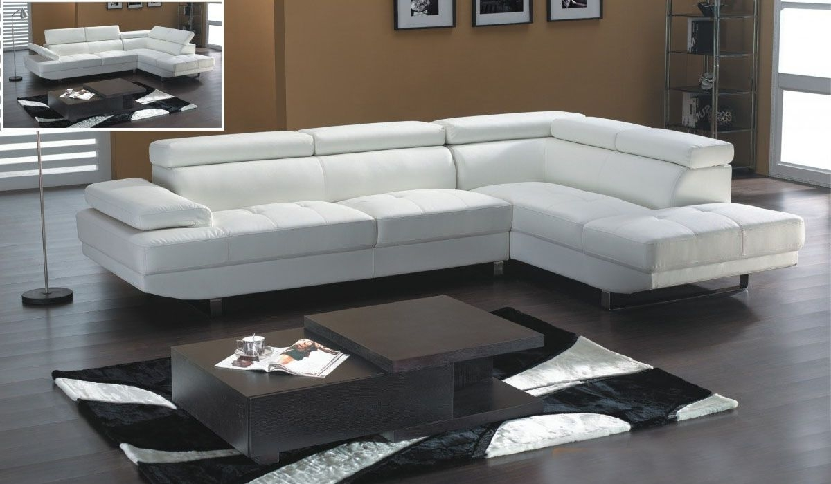 White Leather Modern Sectional Sofa With Adjastable Headrests In Best And Newest White Sectional Sofas (View 17 of 20)