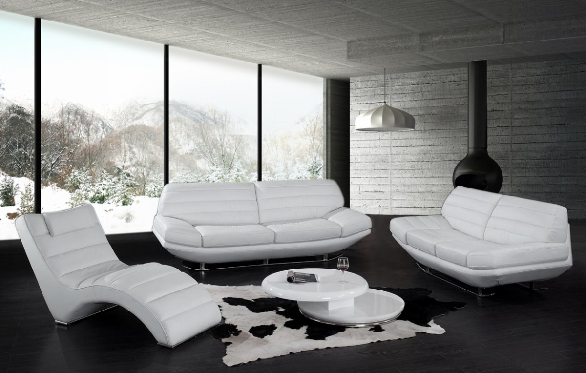 White Leather Sofa For Elegant Living Room – Traba Homes For Trendy Black And White Sofas (View 19 of 20)