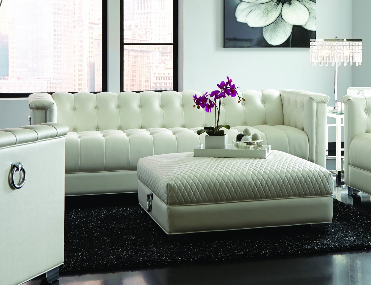 White Leather Sofas For Current Chaviano White Leather Sofa – Steal A Sofa Furniture Outlet Los (View 11 of 20)