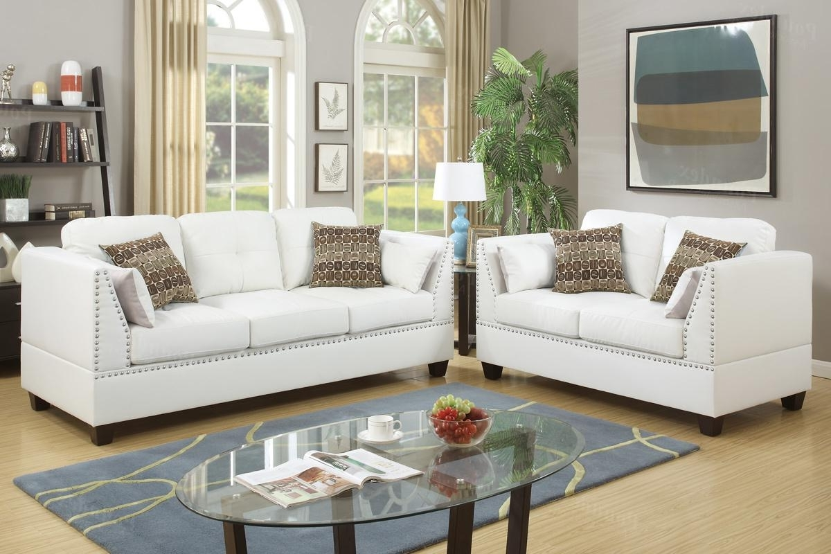 White Leather Sofas In 2019 Barlo White Leather Sofa And Loveseat Set – Steal A Sofa Furniture (View 17 of 20)