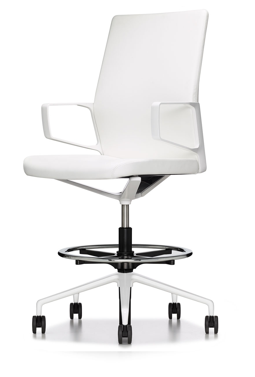White Modern Premium Executive Drafting Chair – Ambience Doré Regarding 2019 Premium Executive Office Chairs (View 20 of 20)