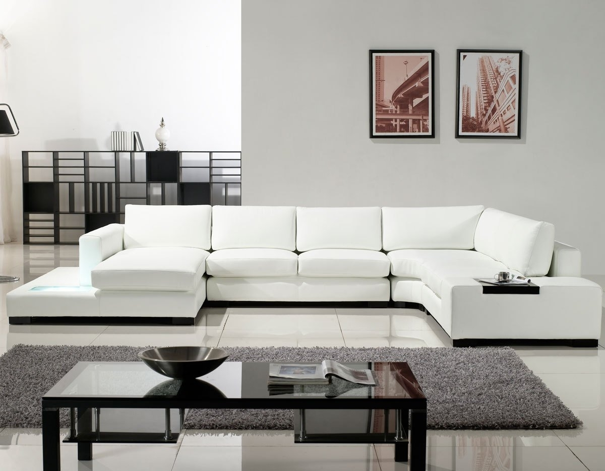 White Sectional Sofas With Newest Sofa : Modern White Leather Recliner Sofa Modern White Leather (View 10 of 20)