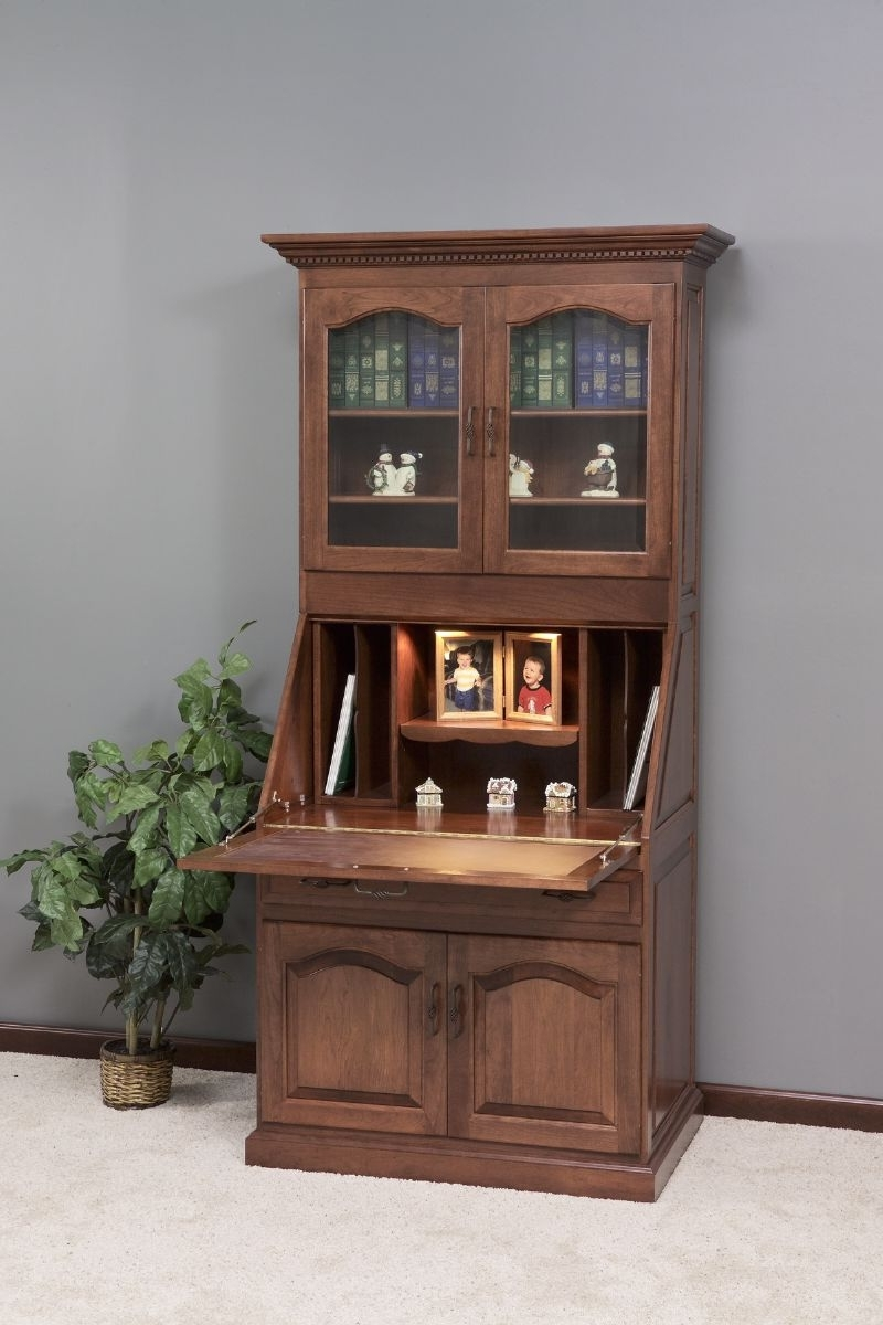 Widely Used Amish Executive Deluxe Secretary Desk With Hutch Top (View 14 of 20)