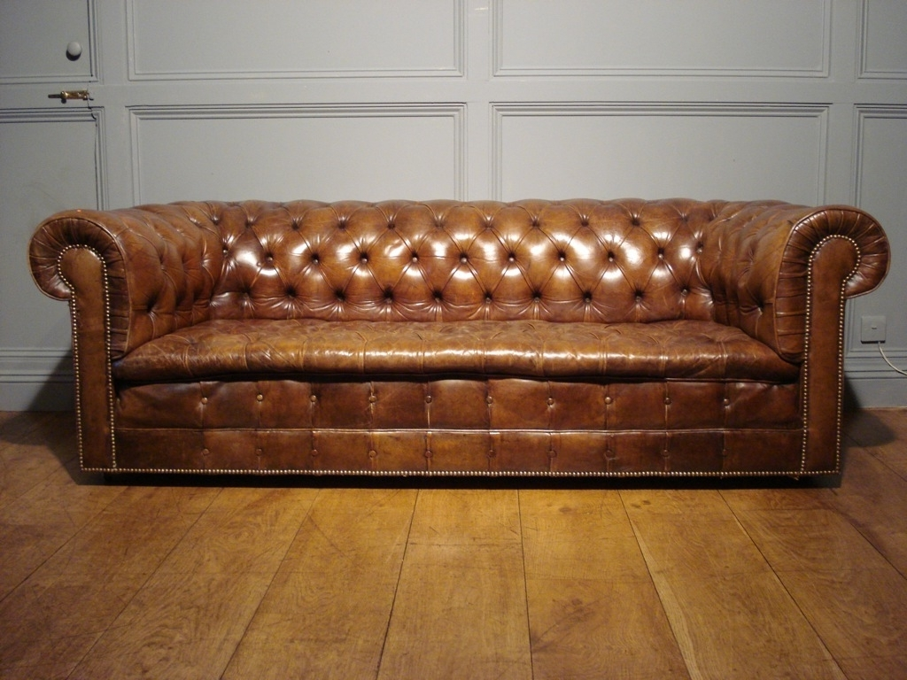 Widely Used Antique Brown Leather Chesterfield Sofa — Fabrizio Design With Regard To Vintage Chesterfield Sofas (View 20 of 20)