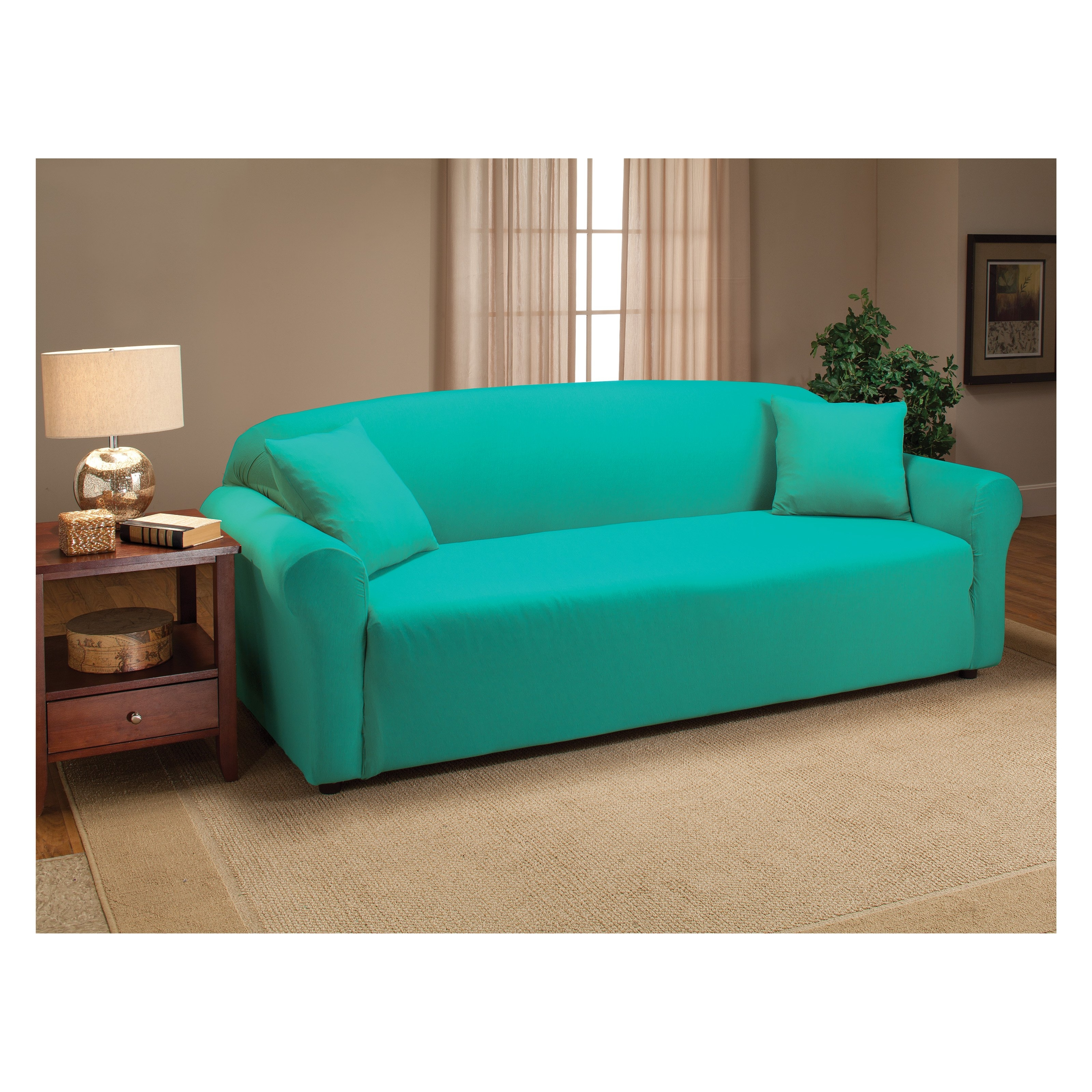 Widely Used Aqua Sofas With Madison Industries Solid Jersey Sofa Cover (View 20 of 20)
