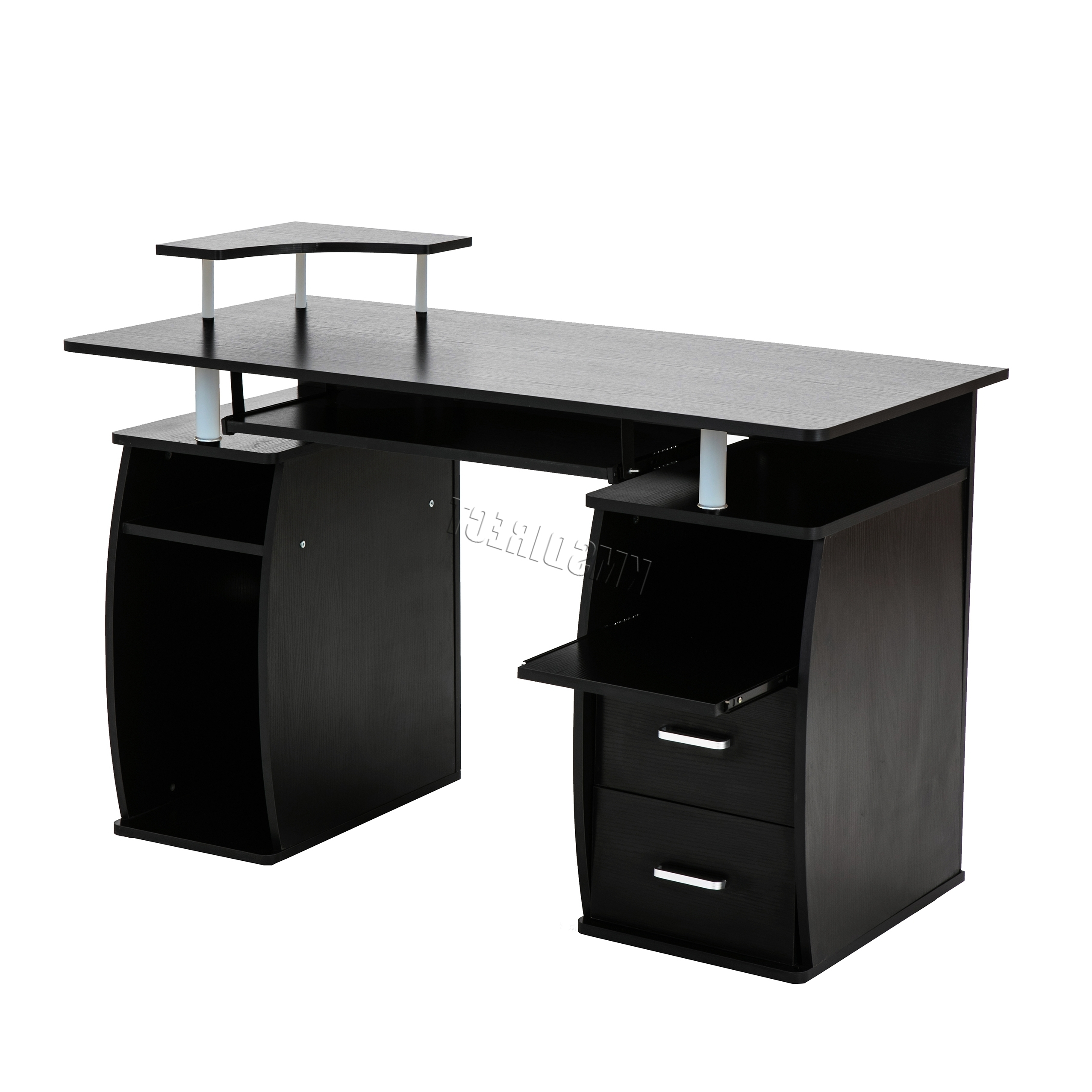 Widely Used Black Computer Desks Inside Westwood Computer Desk Pc Table With Shelves Drawers Home Office (View 20 of 20)