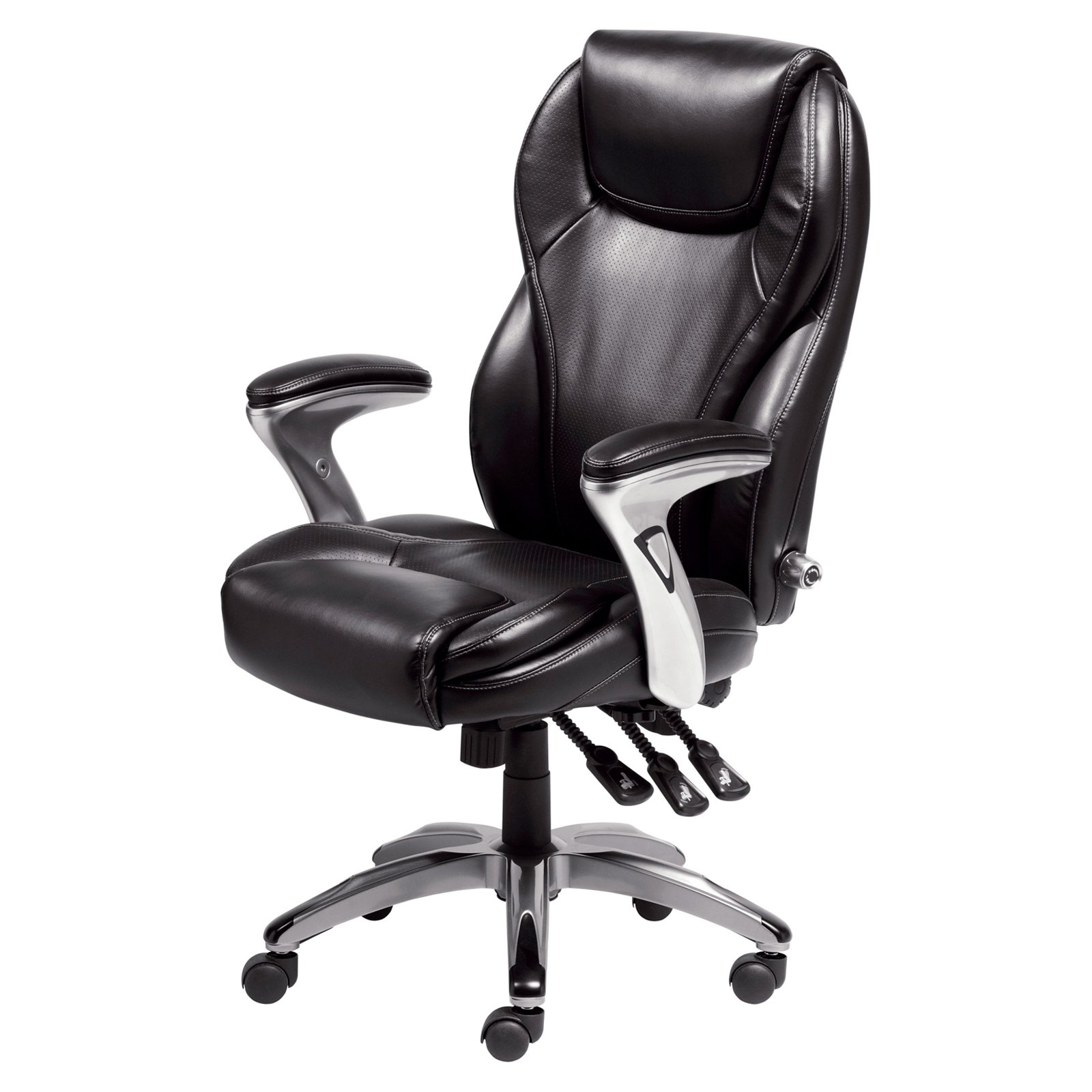 Widely Used Black Executive Office Chairs In Serta Bonded Leather Ergo Executive Office Chair – Black (View 7 of 20)