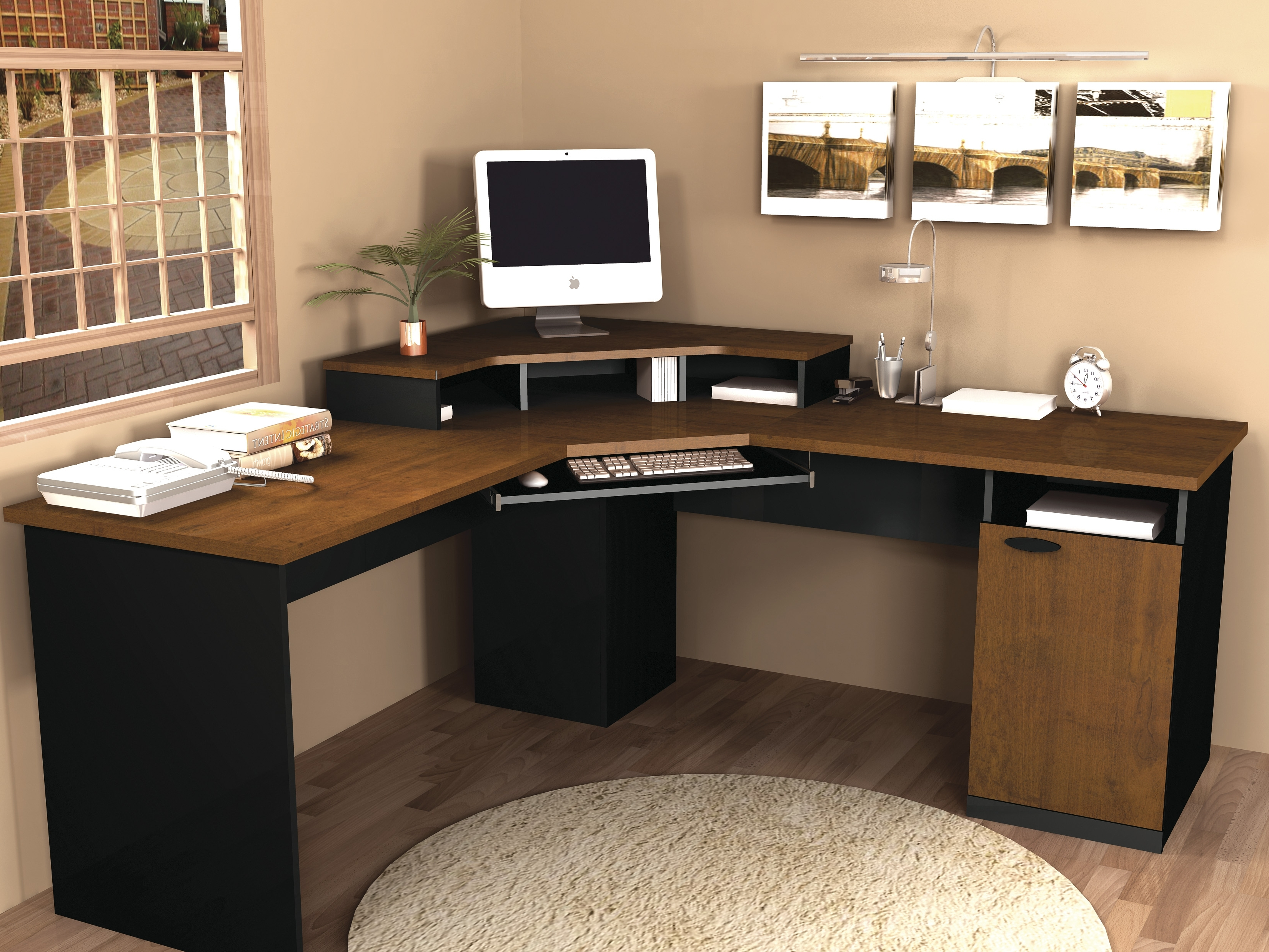 Widely Used Brown Computer Desks For Bestar Hampton Corner Computer Desk (View 14 of 20)