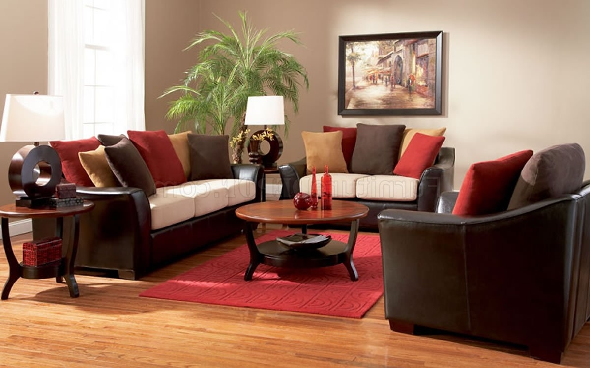 Widely Used Colorful Sofas And Chairs Regarding Two Tone Contemporary Living Room Sofa W/multi Color Pillows (View 19 of 20)