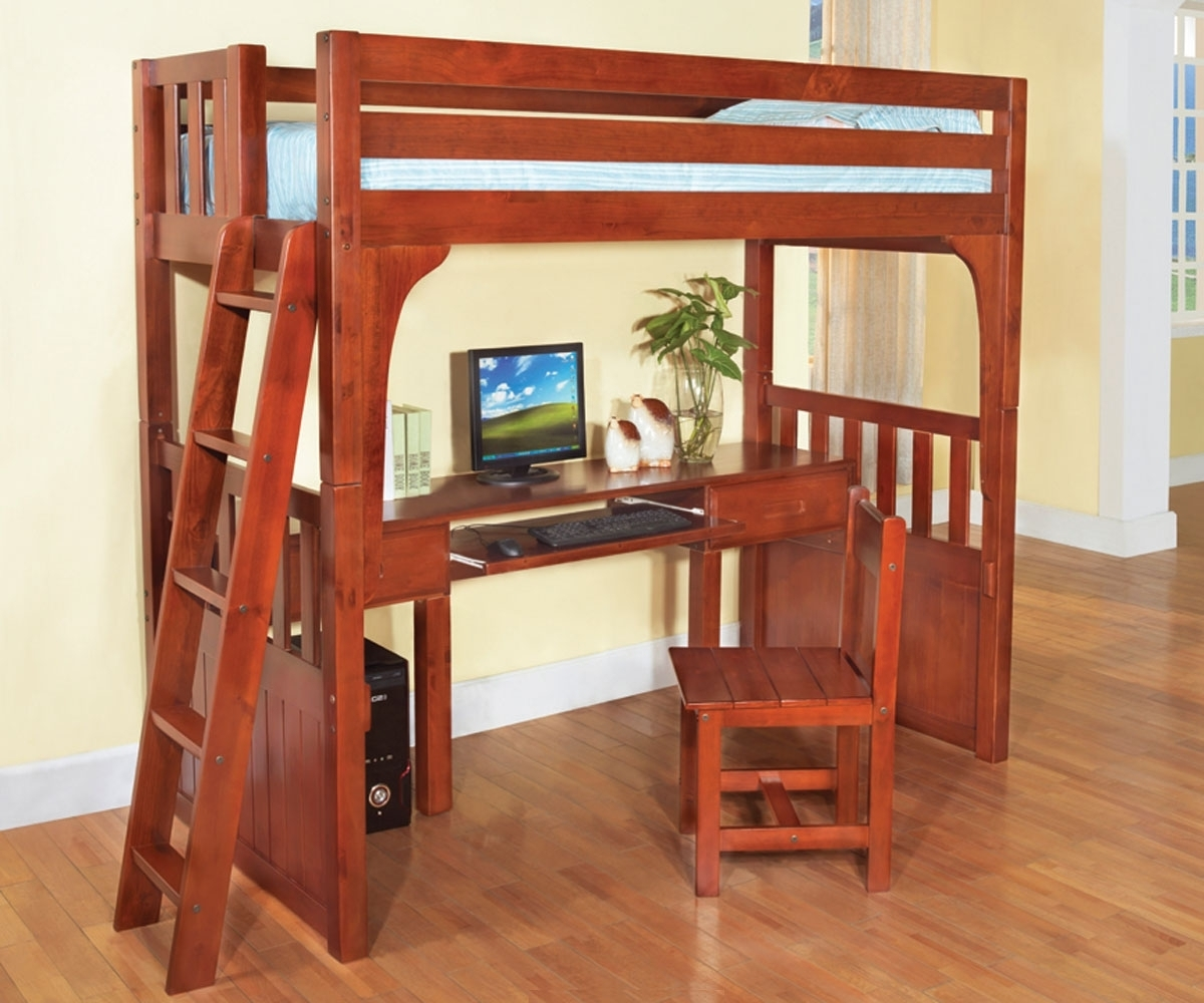 Widely Used Computer Desks Under Stairs In Wooden Loft Bunk Bed With Desk And Workspace Underneath – Decofurnish (View 17 of 20)