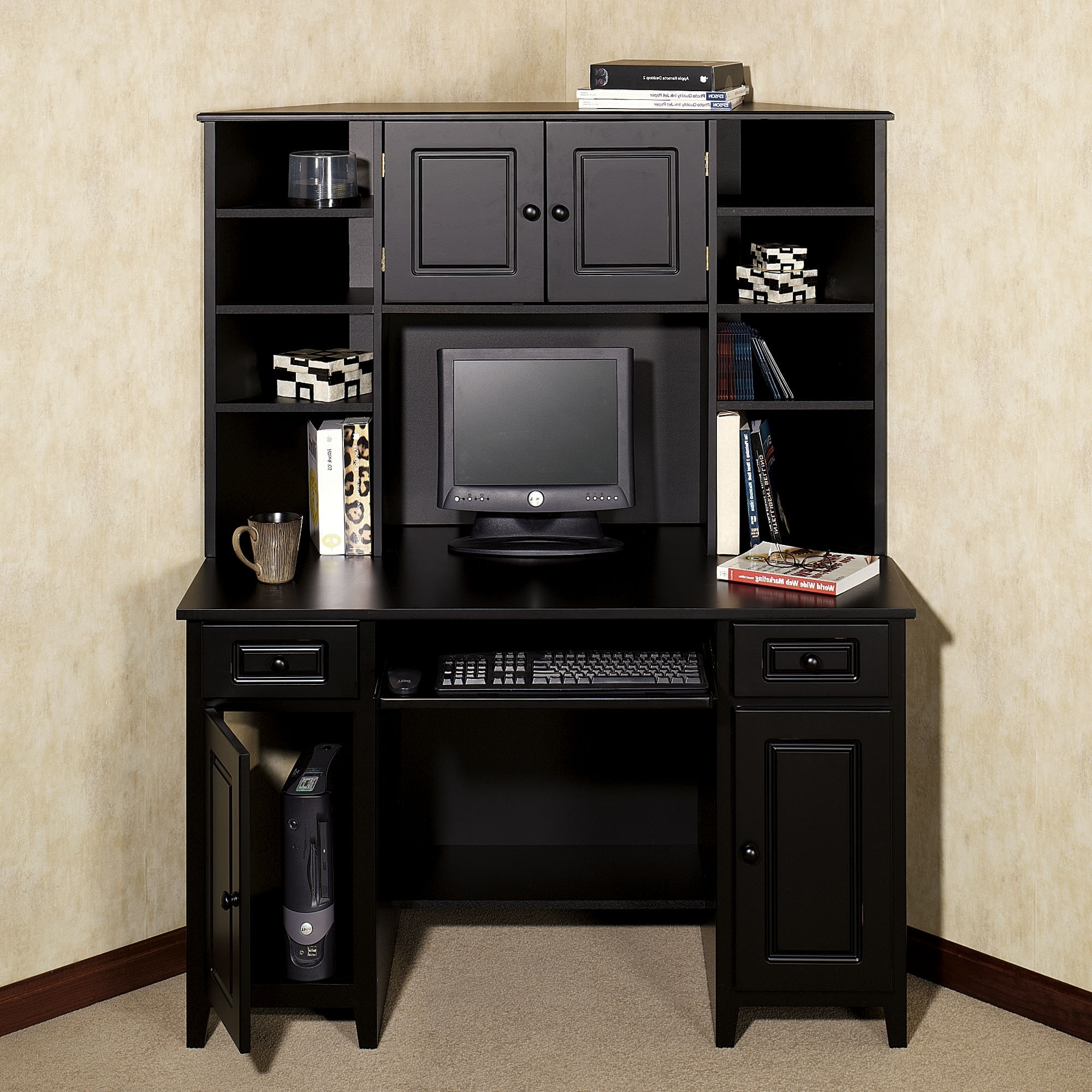 Widely Used Computer Desks With Doors Throughout Black Wooden Corner Computer Desk With Shelf And Drawer Also Black (View 18 of 20)