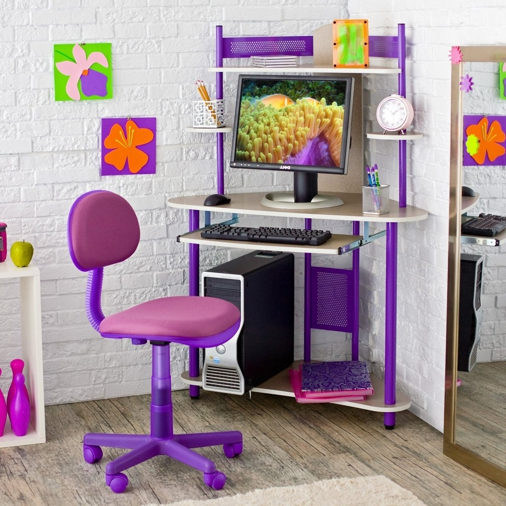 Widely Used Decorating Ideas: Fantastic Pink Theme Home Office Room With White Inside Pink Computer Desks (View 12 of 20)