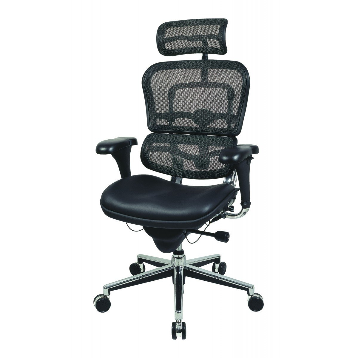 Widely Used Executive Office Chairs With Headrest Regarding Eurotech Ergohuman – Mesh Office Chair With Leather Seat And (View 11 of 20)