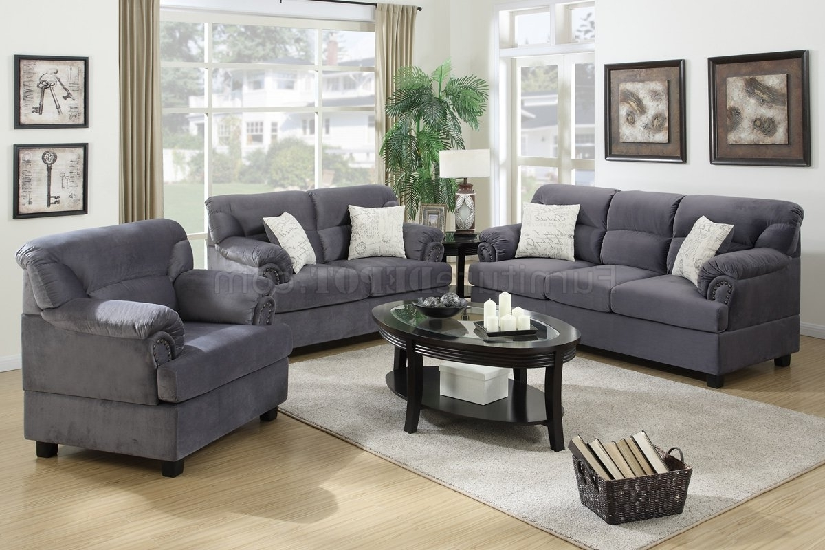 Widely Used F7916 Sofa, Loveseat & Chair Set In Grey Fabricpoundex Regarding Grey Sofa Chairs (View 5 of 20)