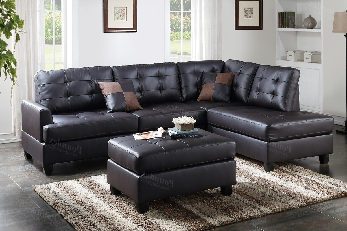 Widely Used Faux Leather Sectional Sofas With Regard To Brown Leather Sectional Sofa And Ottoman – Steal A Sofa Furniture (View 19 of 20)