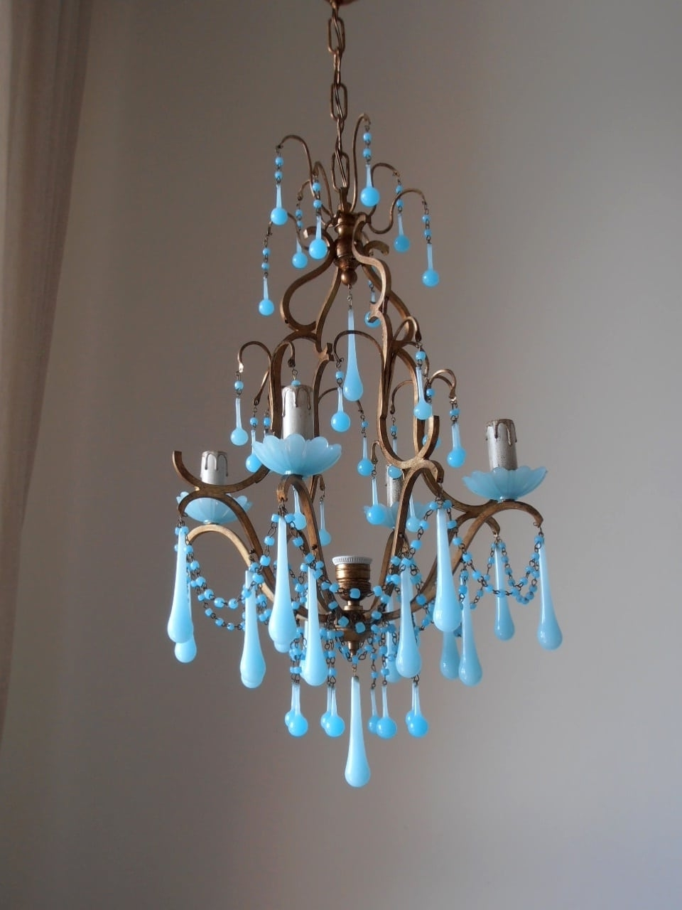 Widely Used Italian Birdcage Chandelier With Blue Murano Opaline – Lorella Dia For Turquoise Birdcage Chandeliers (View 5 of 20)