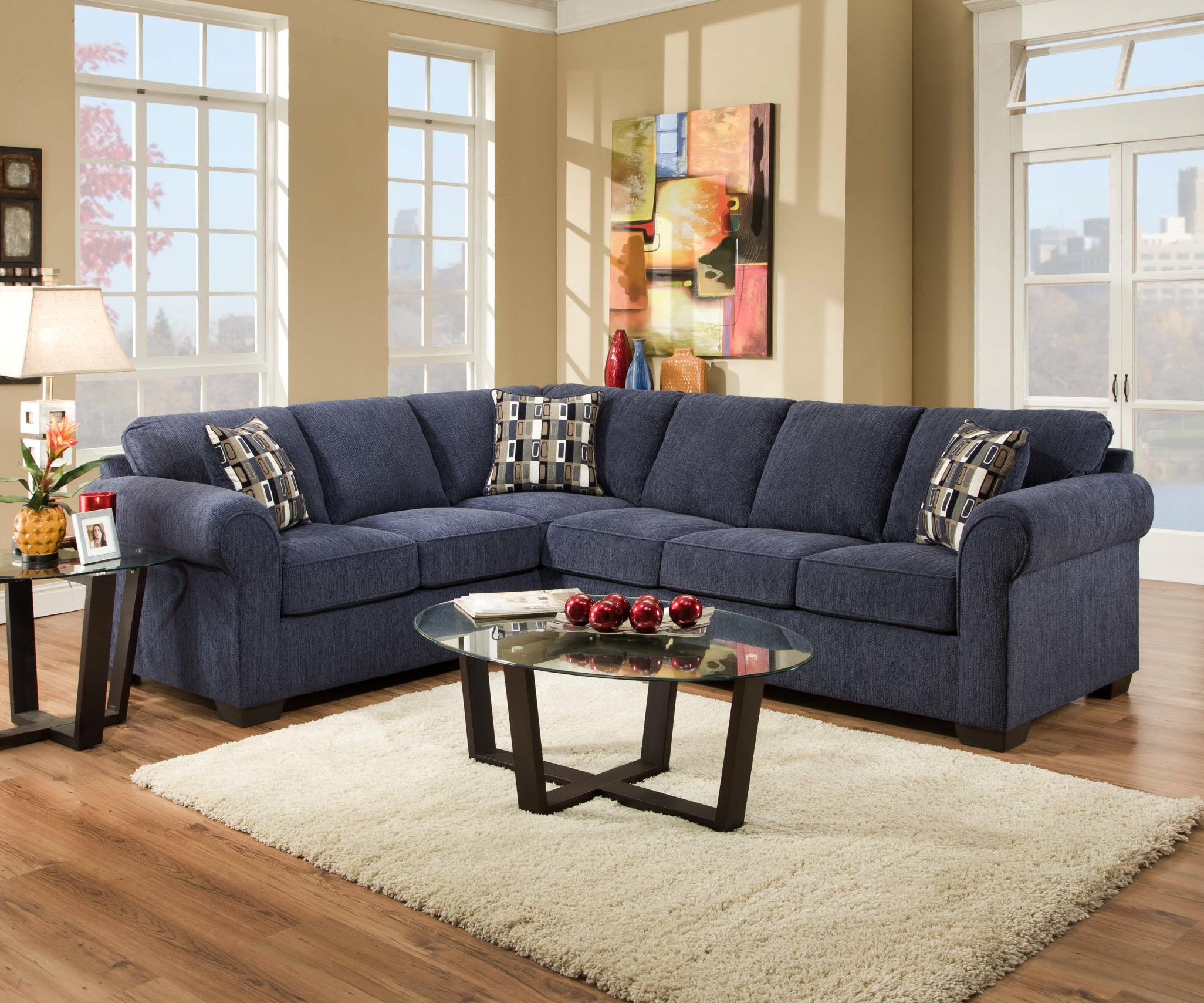 Widely Used Living Room Sofa Beautiful Blue Microfiber Sectional In Sofas Pertaining To Ottawa Sectional Sofas (View 6 of 20)