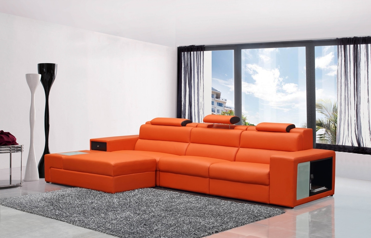 Widely Used Mini Contemporary Orange Bonded Leather Sectional Sofa With Regard To Mini Sectional Sofas (View 20 of 20)