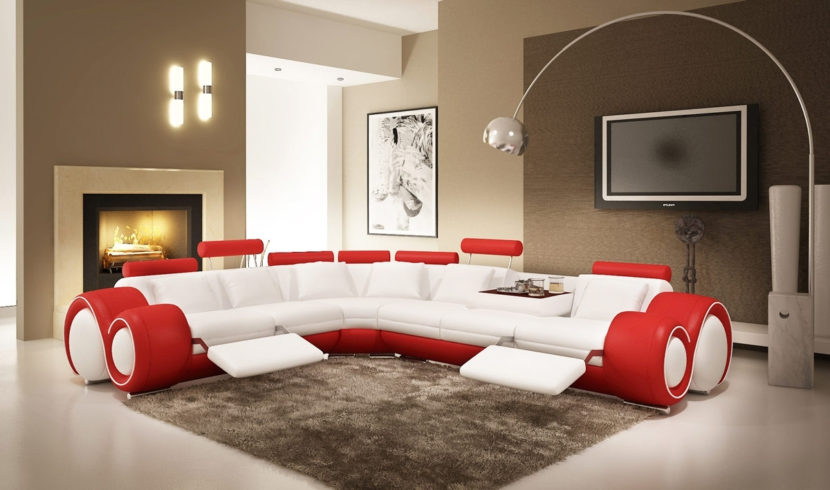 Widely Used Modern Leather Sectional Sofa With Recliners With Red Leather Sectional Sofas With Recliners (View 5 of 20)