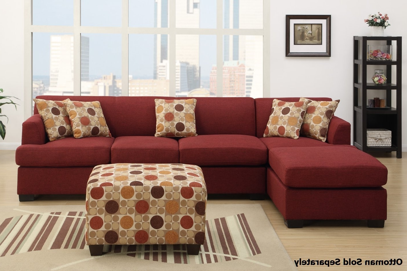 Widely Used Montreal Sectional Sofas With Montreal Iii Red Fabric Sectional Sofa – Steal A Sofa Furniture (View 9 of 20)