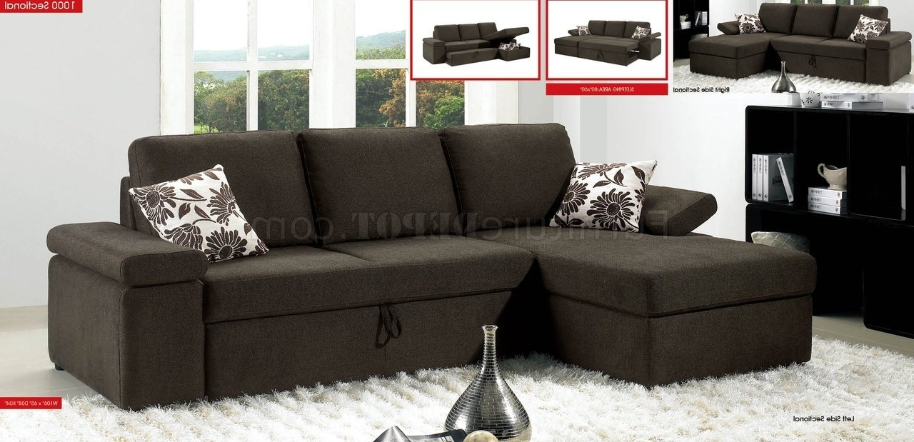 Widely Used Pull Out Beds Sectional Sofas Within Charcoal Brown Fabric Modern Sectional Sofa W/pull Out Bed (View 3 of 20)
