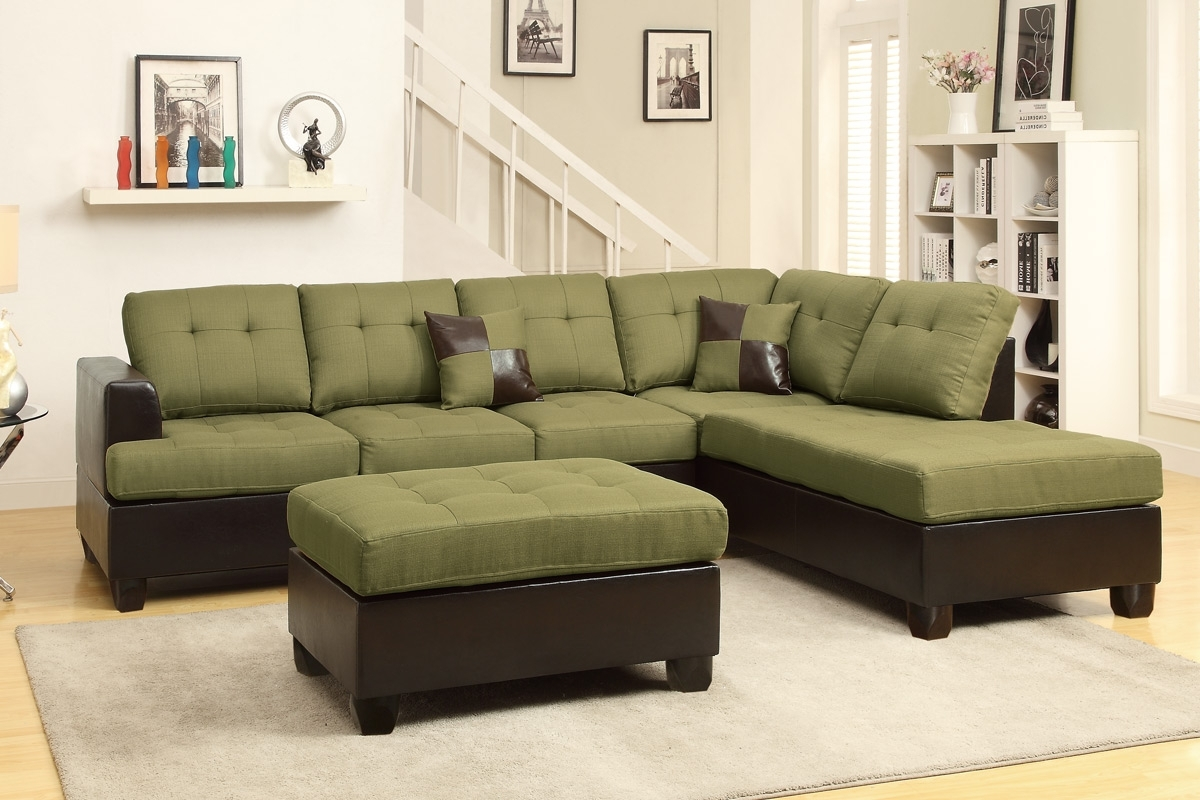 Widely Used Red Sectional Sofas With Ottoman In Abby Green Sectional Sofa W/ Ottoman (View 19 of 20)