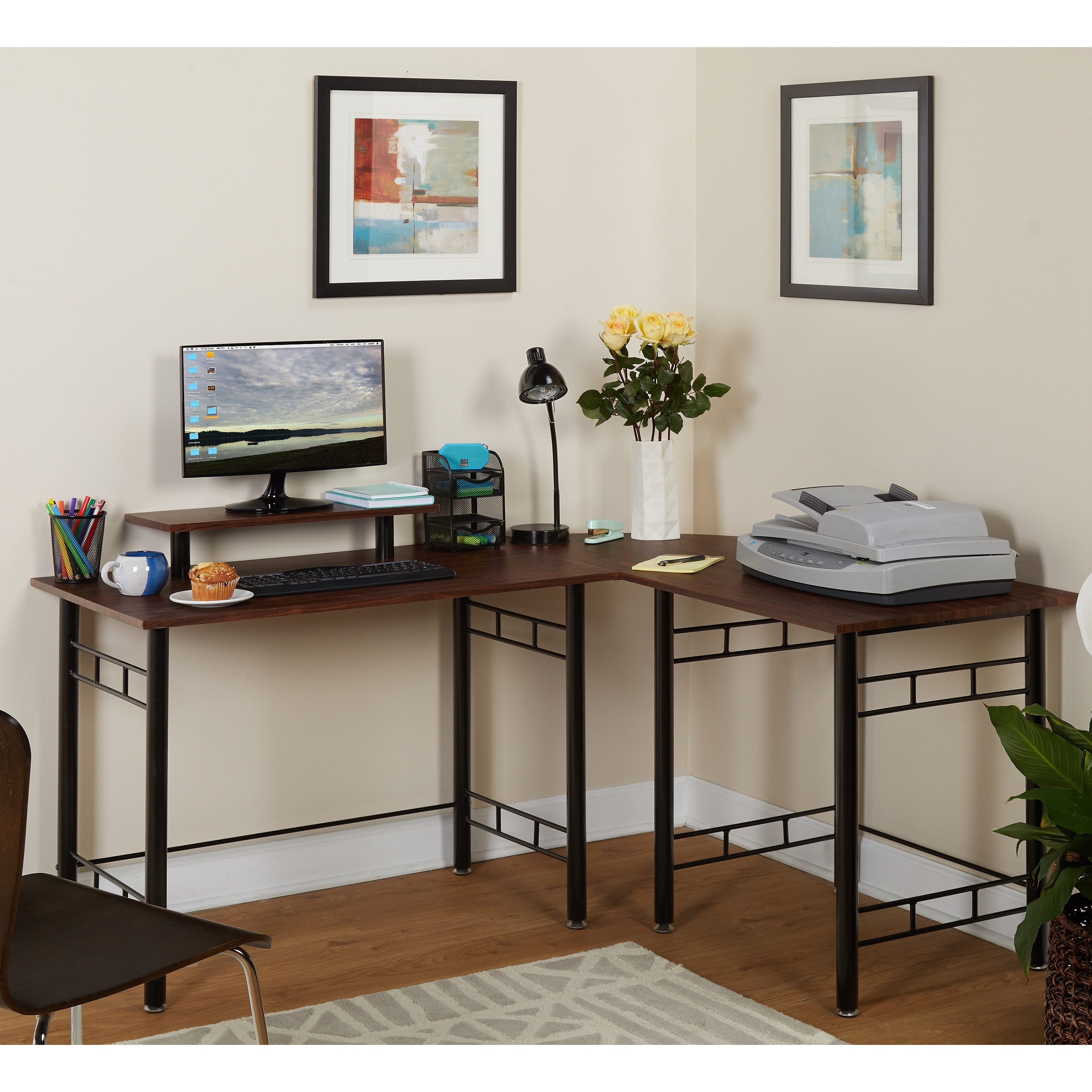 Widely Used Simple Living L Shaped Espresso Computer Desk – Free Shipping Pertaining To Espresso Computer Desks (View 20 of 20)