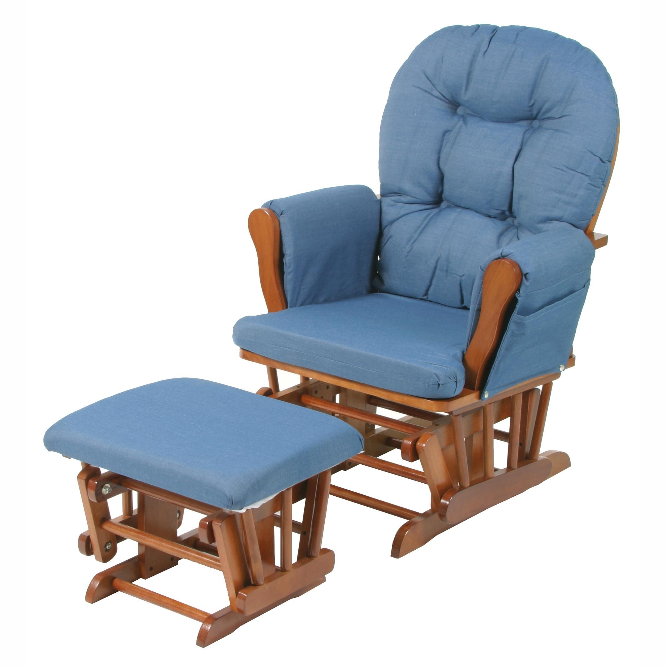 Widely Used Storkcraft Bowback Glider And Ottoman Set – Cognac/denim (View 18 of 20)