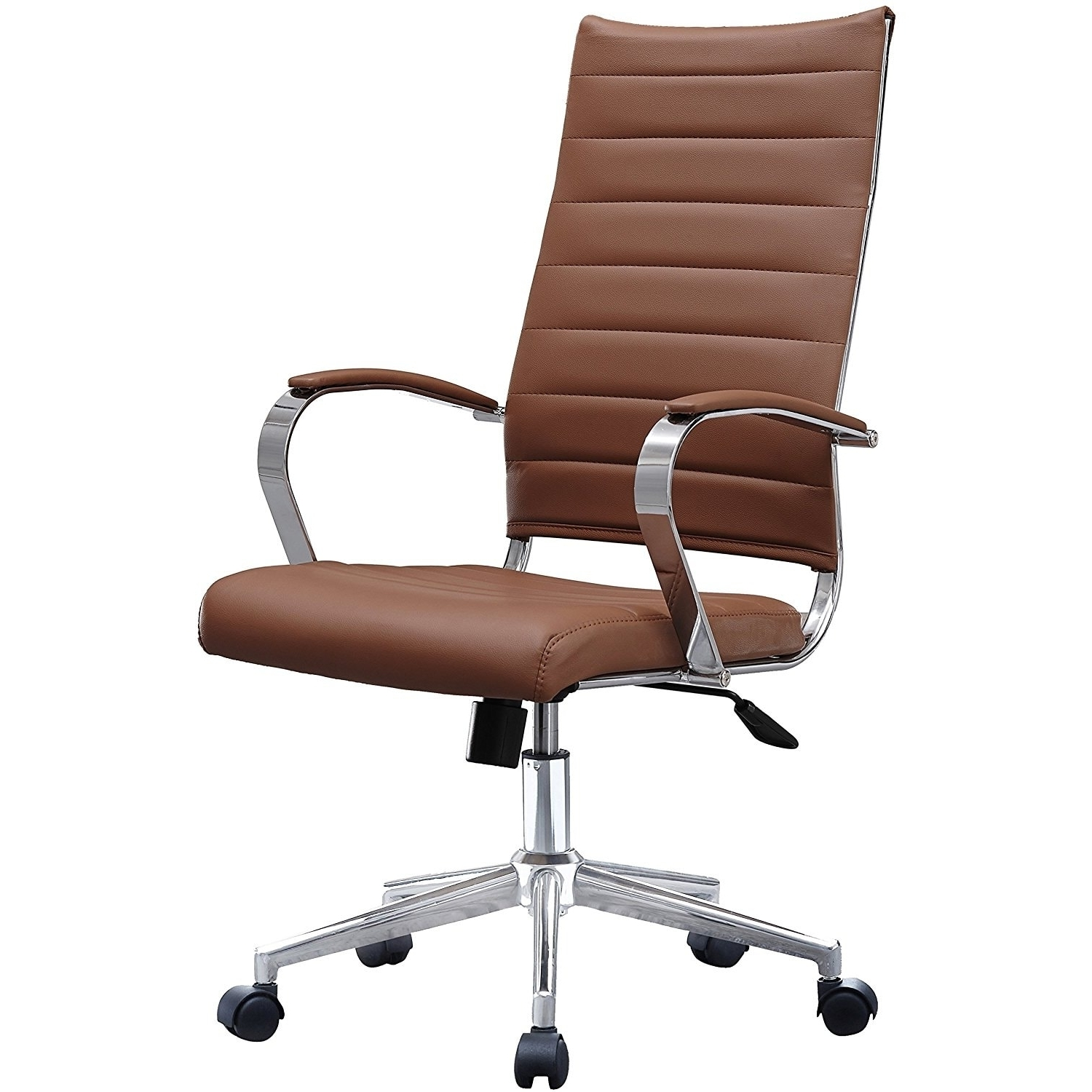 Widely Used Tan Brown Mid Back Executive Office Chairs Intended For 2Xhome Modern Brown High Back Office Chair Ribbed Pu Leather (View 9 of 20)