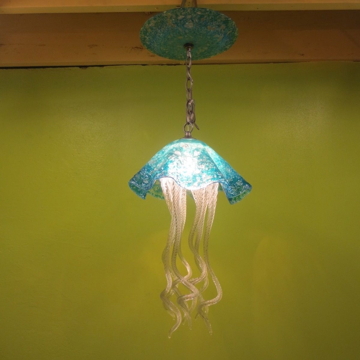 Widely Used Turquoise Blown Glass Chandeliers With Regard To Buy A Hand Made Jellyfish Pendant Light – Turquoise Jellyfish (View 3 of 20)