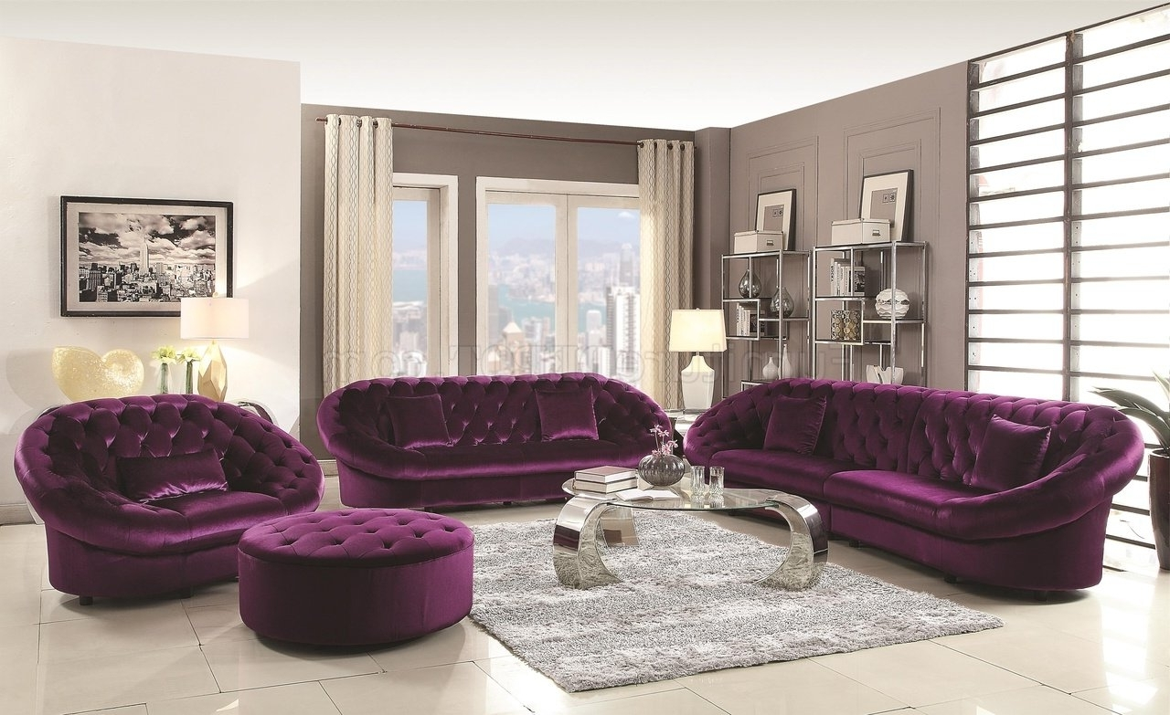 Widely Used Velvet Purple Sofas Within Romanus 511045 Sectional Sofa In Purple Fabric Coaster W/options (View 7 of 20)