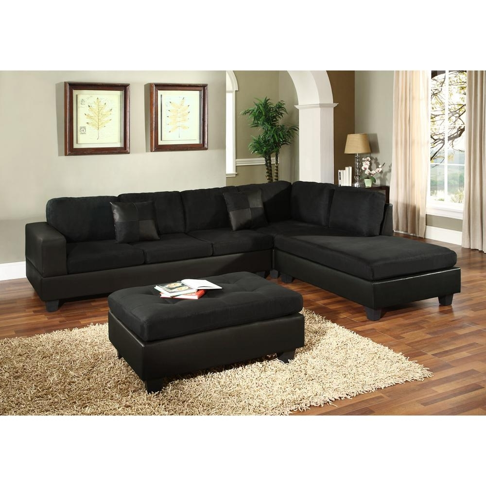 Widely Used Venetian Worldwide Dallin Black Microfiber Sectional Mfs0005 L Intended For Black Sectional Sofas (View 9 of 20)
