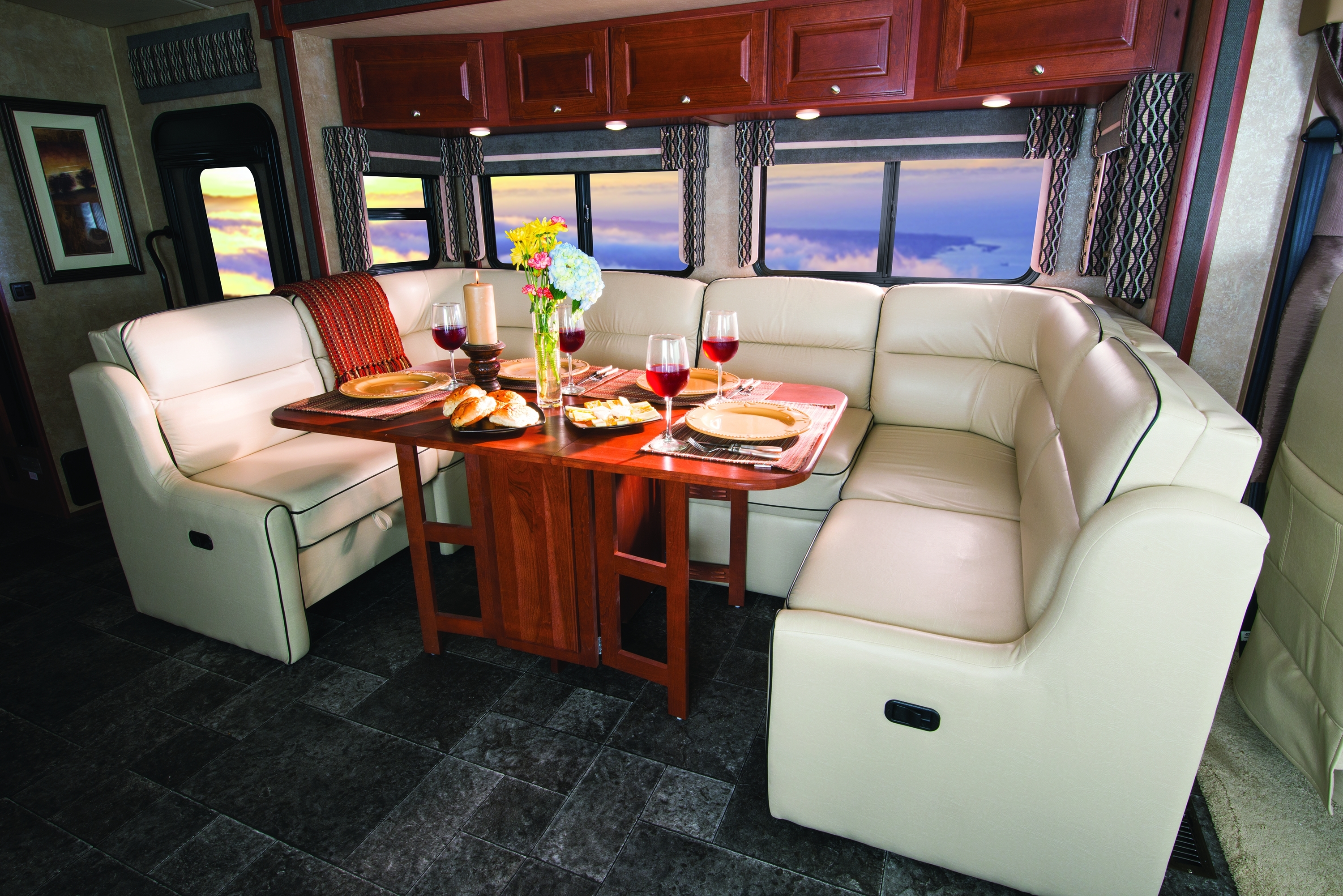 Winnebago Introduces 2014 Sightseer & Sunova Class A Motorhomes Intended For 2019 Sectional Sofas For Campers (View 20 of 20)