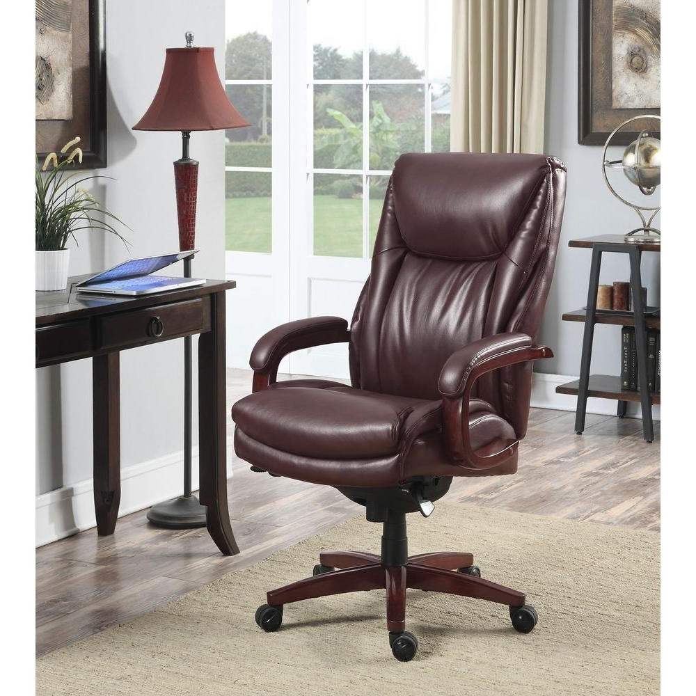 Wood And Leather Executive Office Chairs Pertaining To Well Liked La Z Boy Edmonton Coffee Brown Bonded Leather Executive Office (View 18 of 20)