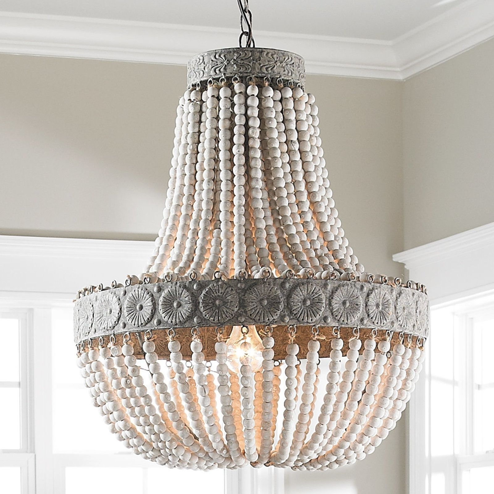 Wood Bead Chandelier, Aged Wood And (View 6 of 20)