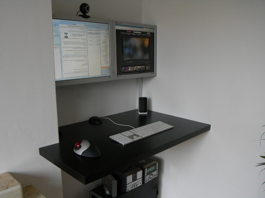 Wood – How Is A Floating Desk Top Supported Against The Wall Regarding Famous Wall Computer Desks (View 11 of 20)