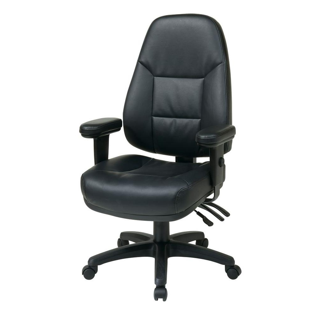 Work Smart Black Leather High Back Office Chair Ec4300 Ec3 – The Regarding Most Popular Executive Office Chairs With Adjustable Arms (View 20 of 20)